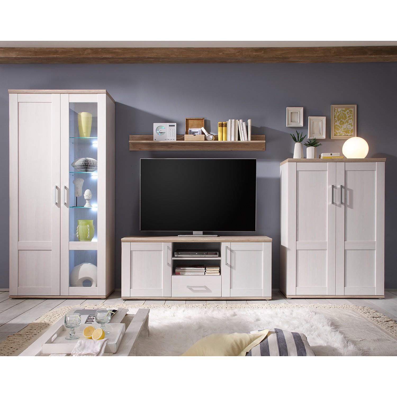 EEK A+, Ensemble de meubles TV Halsoy (4 éléments) - Avec éclairage - Imitation mélèze de Sibiu / Im