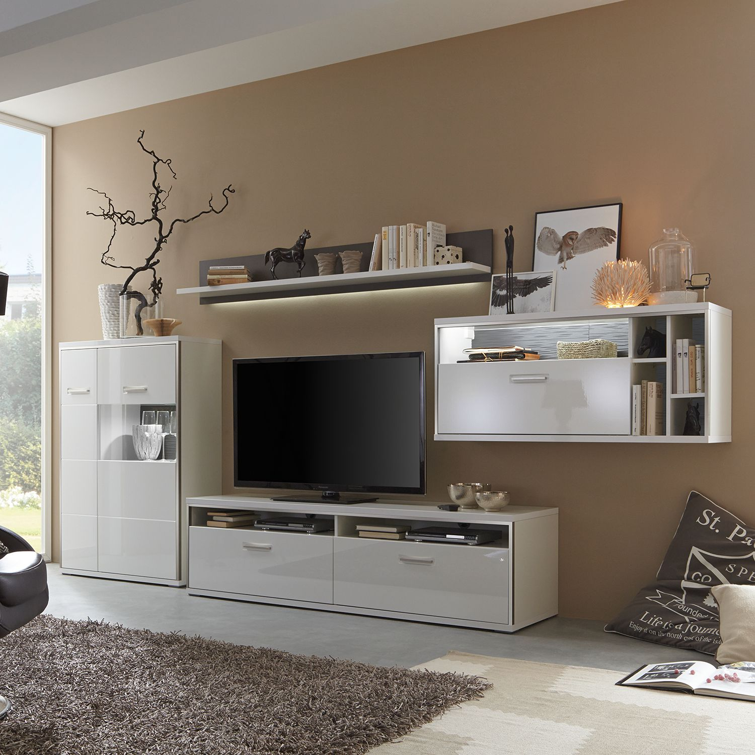 roller wohnwand grau interessante ideen f r. Black Bedroom Furniture Sets. Home Design Ideas