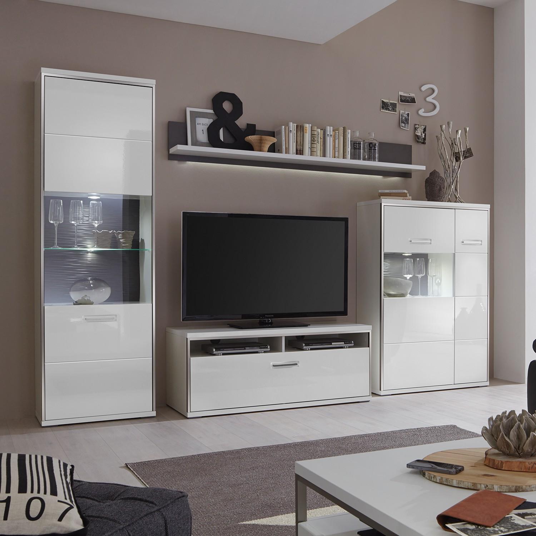 Wohnwand weiß grau hochglanz  Wohnwand In Grau Hochglanz Preisvergleich • Die besten Angebote ...