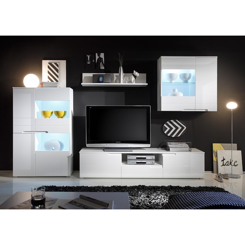 EEK A+, Wohnwand Larado (4-teilig) - inkl. Beleuchtung - Hochglanz Weiß / Weiß, roomscape