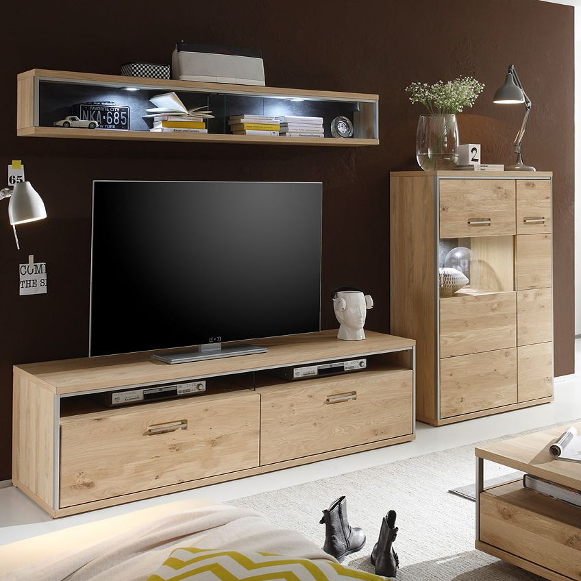 wohnwand eiche teilmassiv preisvergleiche. Black Bedroom Furniture Sets. Home Design Ideas