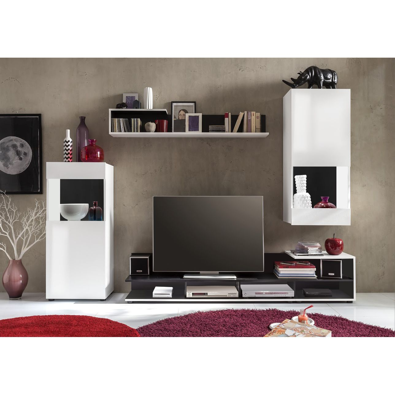 wohnwand minaya 4 teilig wei schwarz trendteam g nstig online kaufen. Black Bedroom Furniture Sets. Home Design Ideas