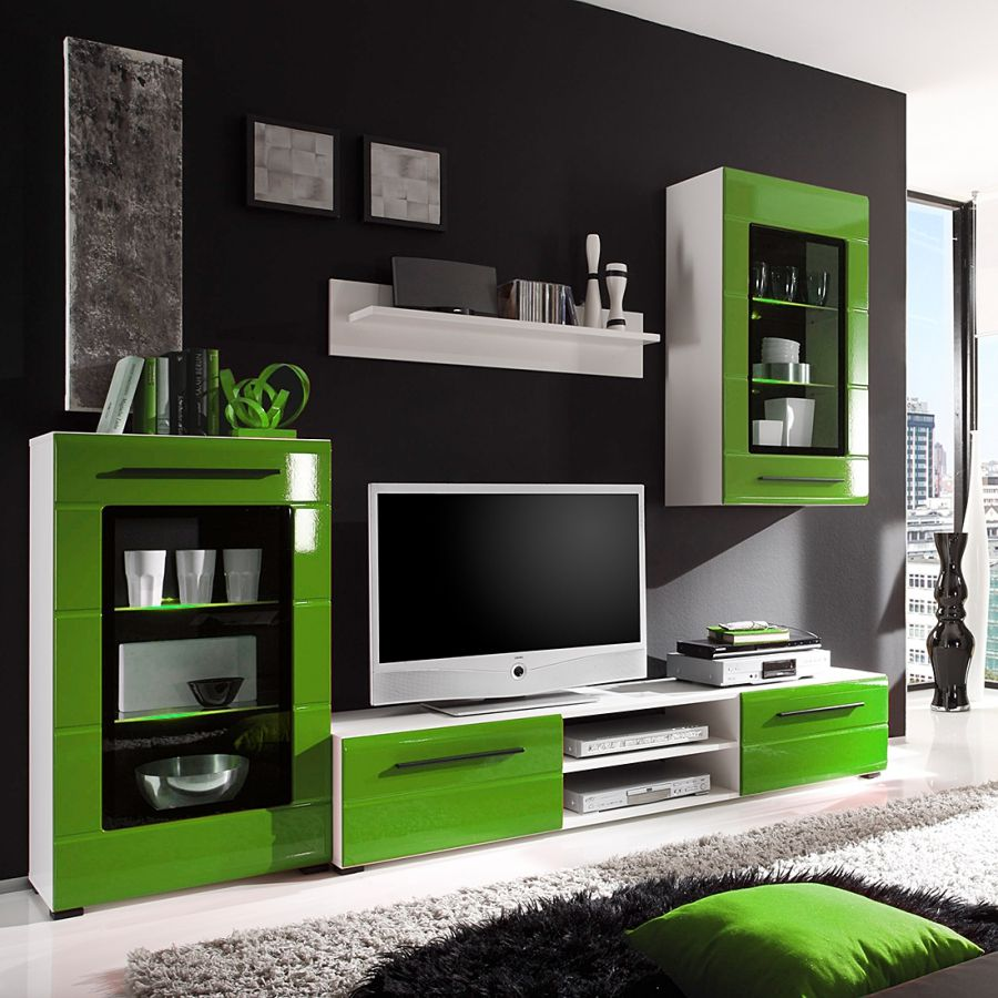 wei hochglanz wohnwand preisvergleich die besten angebote online kaufen. Black Bedroom Furniture Sets. Home Design Ideas