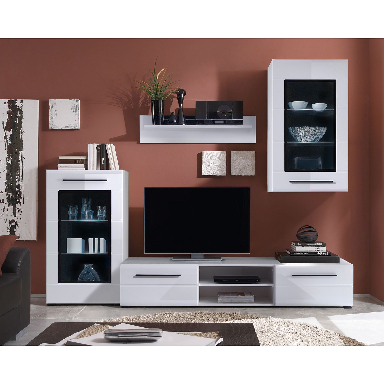 EEK A+, Wohnwand Motley III (4-teilig) - inkl. Beleuchtung - Hochglanz Weiß / Weiß, roomscape