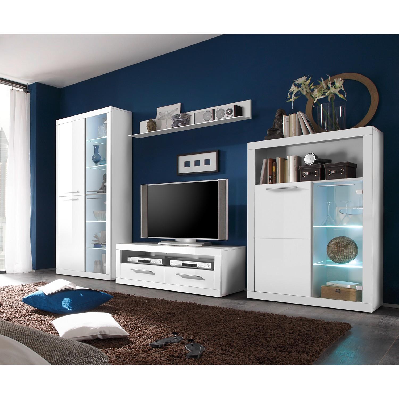 EEK A+, Ensemble de meubles TV Rejsby (4 éléments) - Avec éclairage - Blanc, Fredriks