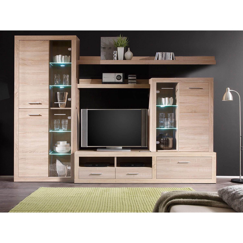 EEK A+, Ensemble de meubles TV Rindby (5 éléments) - Avec éclairage - Imitation chêne Sonoma, Fredri