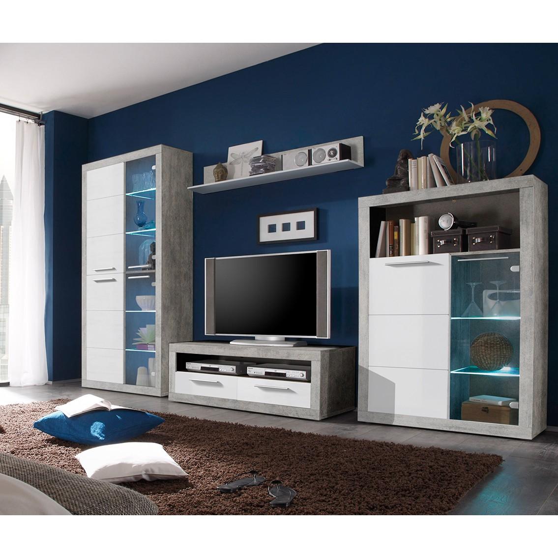 EEK A+, Ensemble de meubles TV Rognan I (4 éléments) - Avec éclairage - Blanc / Imitation béton, Fre