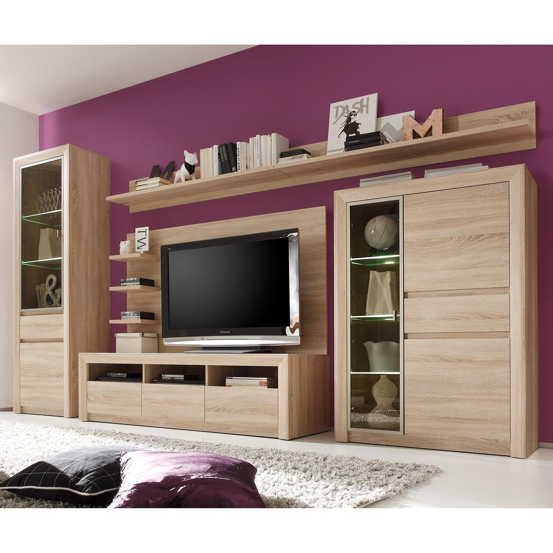 eek a wohnwand santandria i 6 teilig inkl beleuchtung eiche sonoma hell dekor. Black Bedroom Furniture Sets. Home Design Ideas