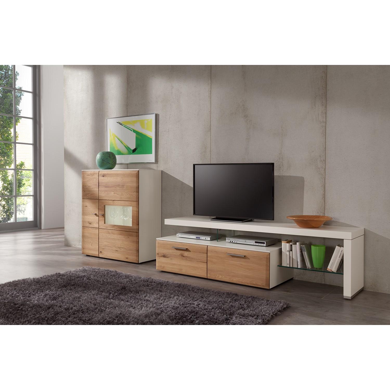 Ensemble de meubles TV Solano (3 éléments) - Partiellement en bois massif - Chêne noueux - Vitrine g