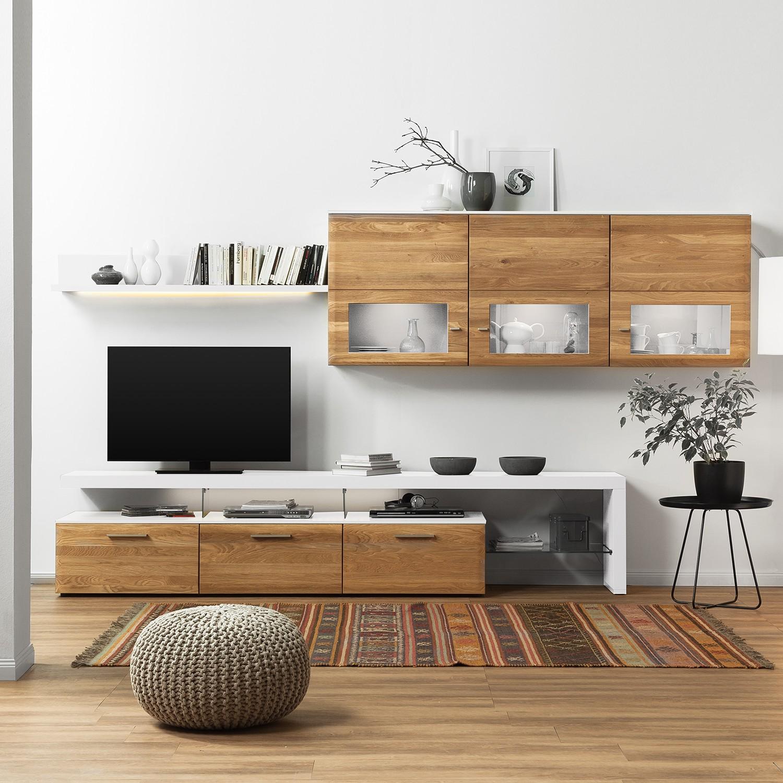 EEK A+, Ensemble de meubles TV Solano (4 éléments) - Vitrine suspendue droit - Avec éclairage - Chên