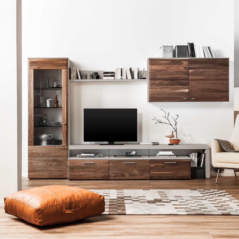 Ensemble de meubles TV Solano (5 éléments) - Vitrine gauche - Sans éclairage - Noyer / Gris platine,