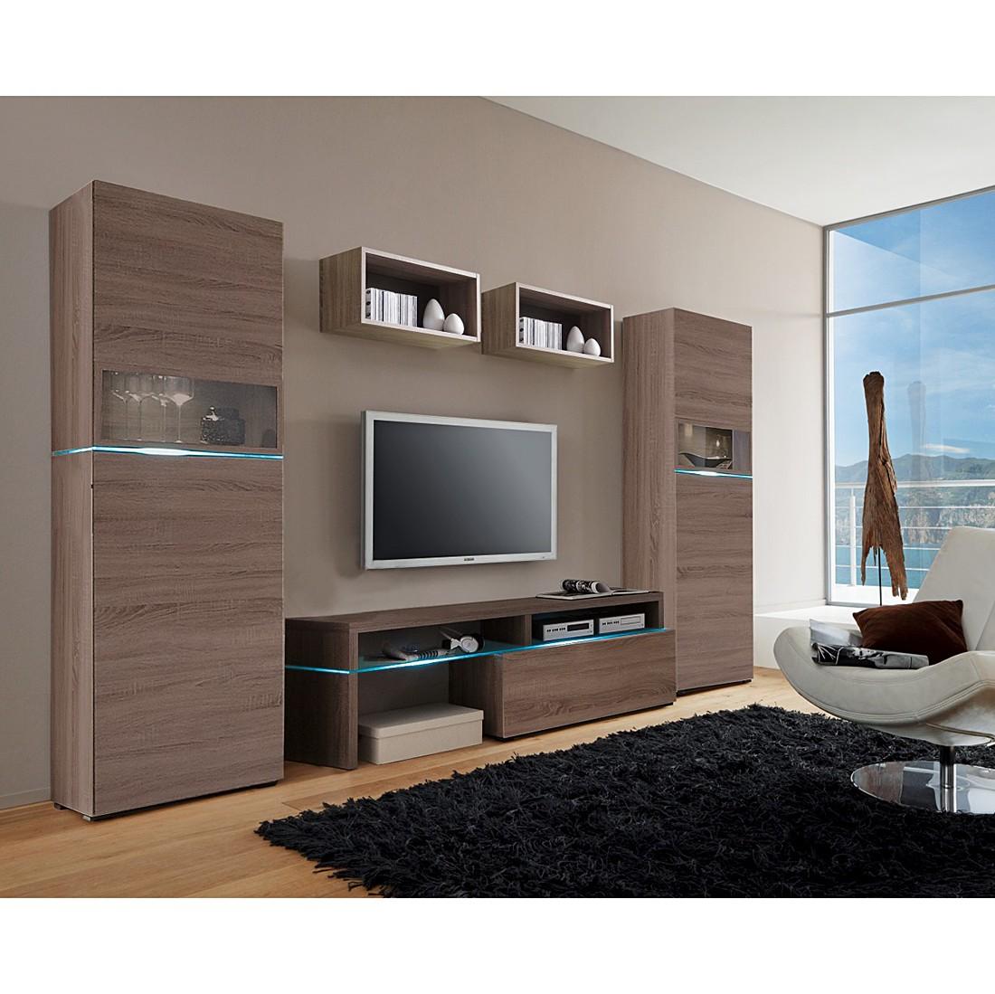 eek a wohnwand colourart iii 5 teilig mit beleuchtung sonoma eiche tr ffel dekor cs. Black Bedroom Furniture Sets. Home Design Ideas