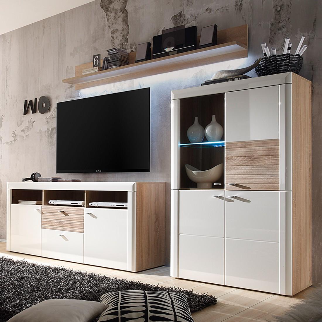 EEK A+, Ensemble de meubles TV Telemann (3 éléments)- Blanc brillant / Imitation chêne Sonoma - Avec