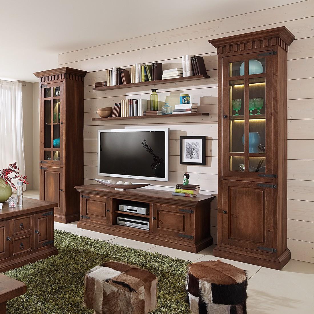 EEK A+, Ensemble de meubles TV Vicuna - Pin massif - Marron - Avec éclairage, Landhaus Classic