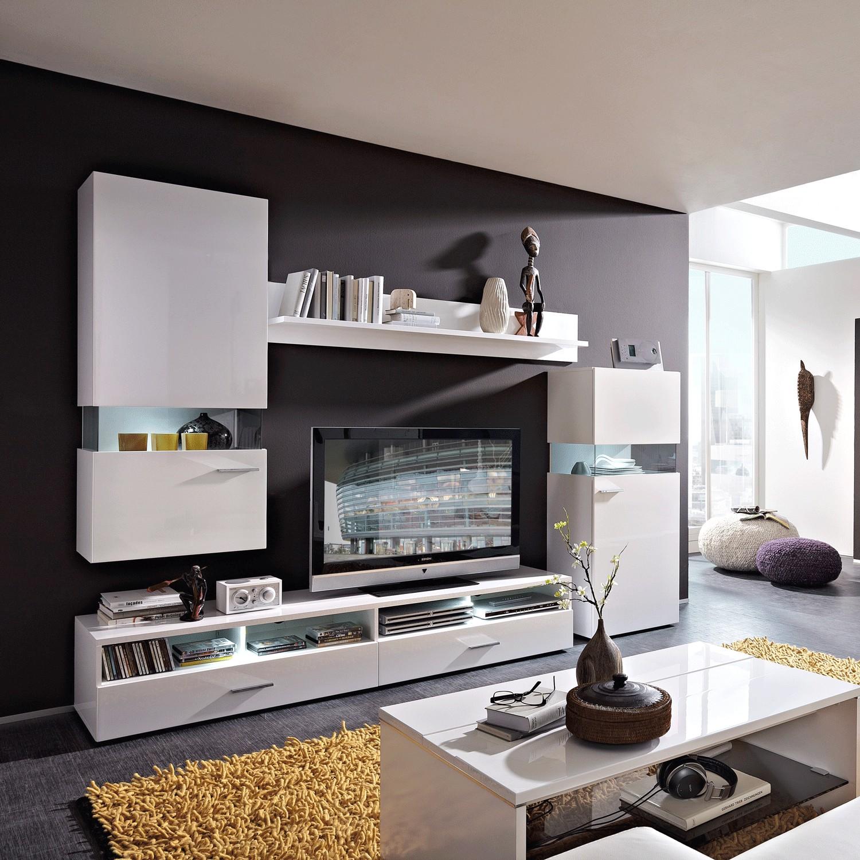 EEK A+, Ensemble de meubles TV WhiteStar I (4 éléments) - Blanc brillant, California