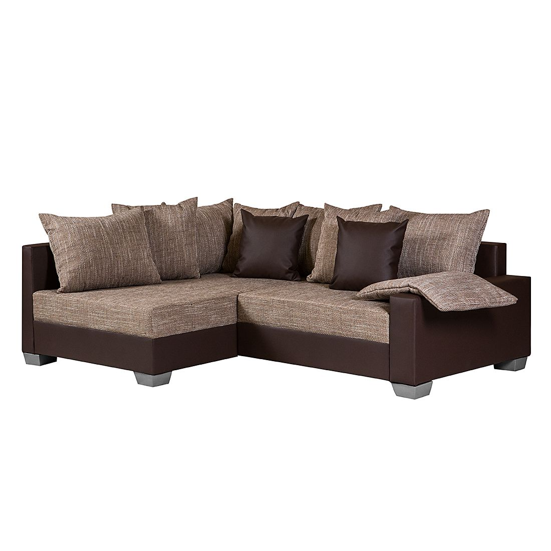 ecksofa venus kunstleder dunkel braun webstoff braun ottomane davorstehend links mit. Black Bedroom Furniture Sets. Home Design Ideas