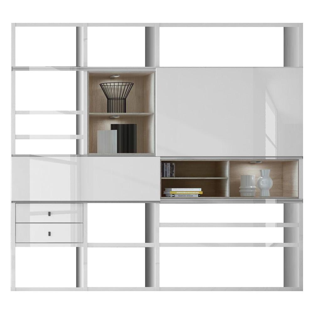 eek a etag re xl emporior l c imitation ch ne de sonoma blanc brillant eclairage rvb. Black Bedroom Furniture Sets. Home Design Ideas