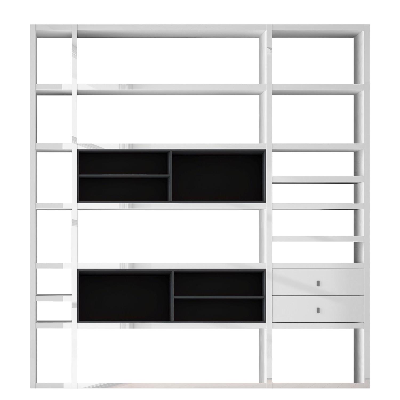 Home 24 - Etagère xl emporior ii - blanc / noir - sans éclairage - blanc brillant / noir, fredriks
