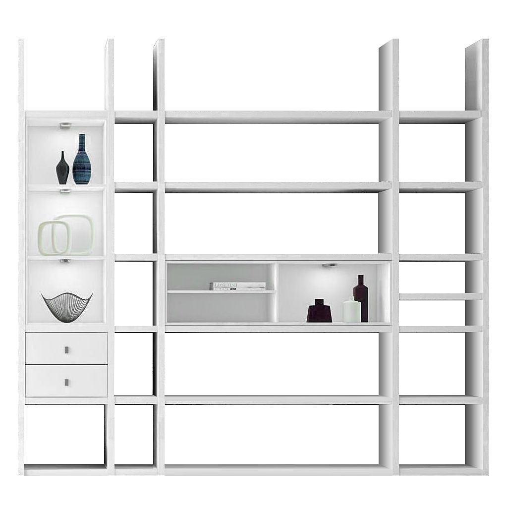 EEK A+, Etagère XL Emporior IIl.A - Blanc - Eclairage RVB - Blanc, loftscape