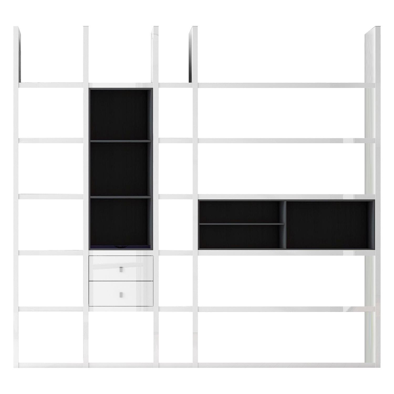 XL-kast Emporior III.B - wit/zwart - Zonder verlichting - Hoogglans wit/zwart, loftscape