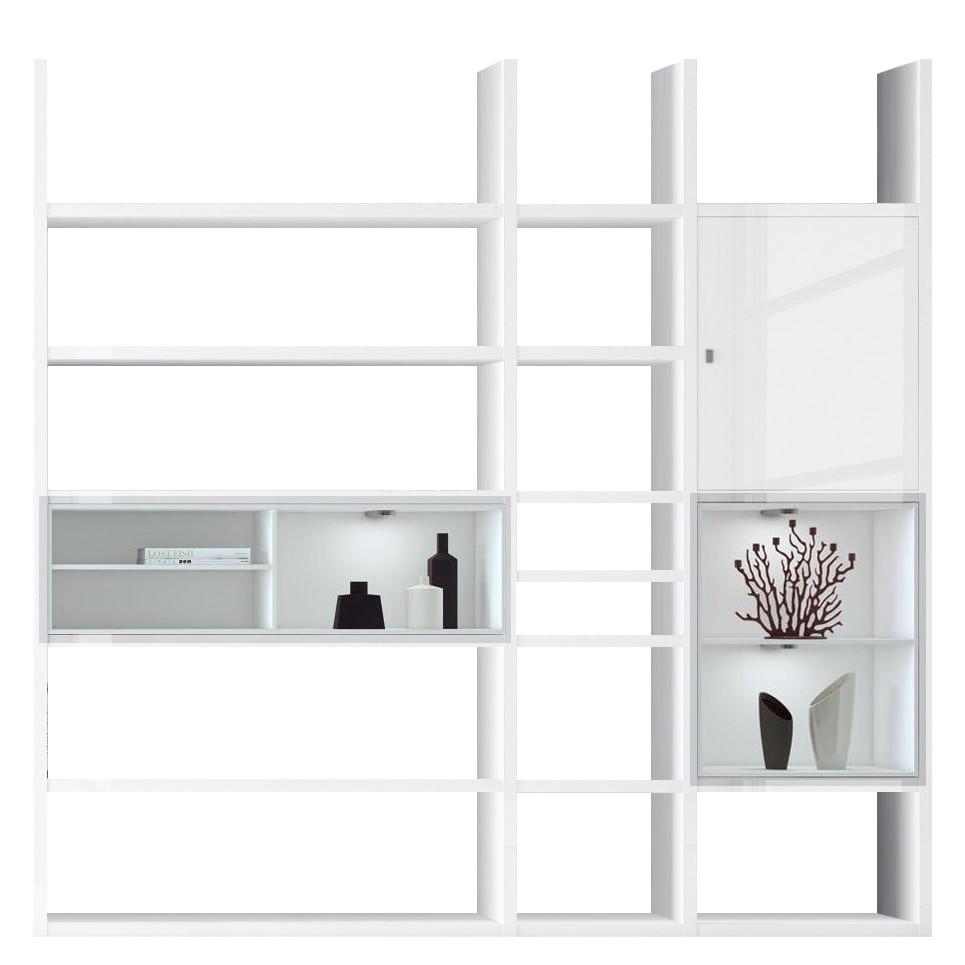 EEK A+, Etagère XL Emporior IV - Blanc - Eclairage RVB - Blanc brillant / Blanc, Fredriks