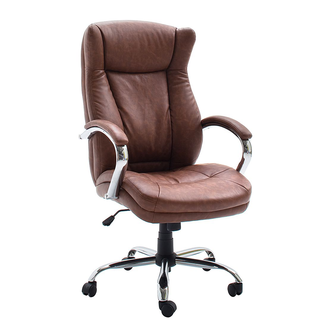 Home 24 - Fauteuil de direction director - imitation cuir - cognac vintage, home24 office