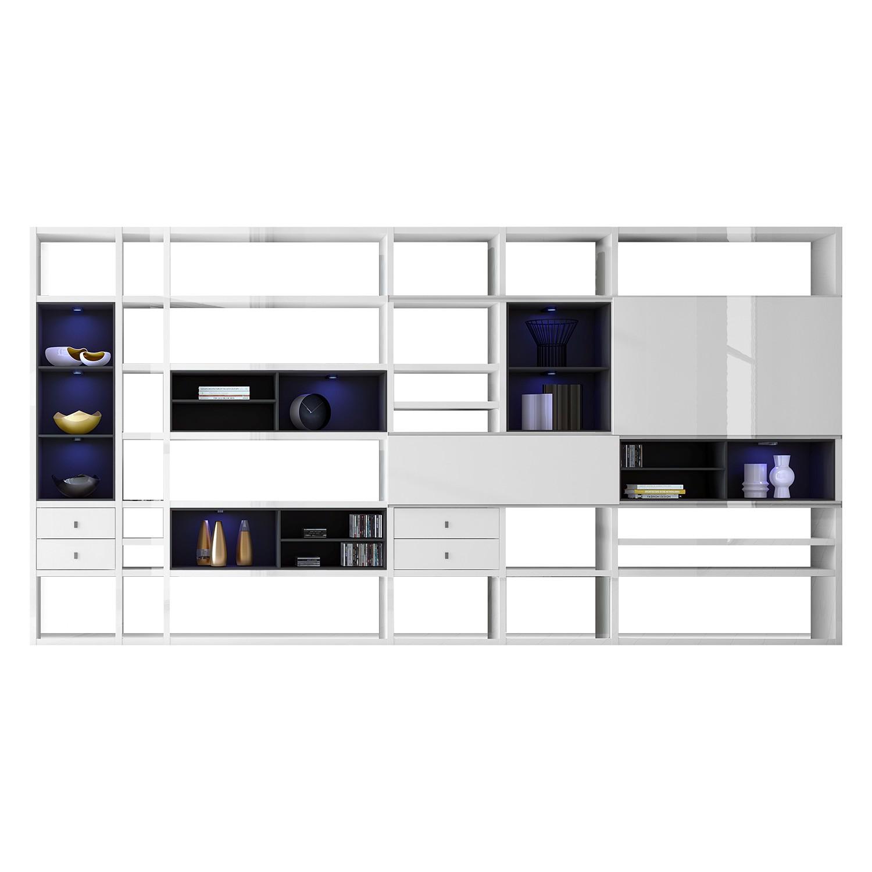 energie  A+, XXL-kast Emporior I.B - hoogglans wit/zwart - RGB-verlichting, loftscape
