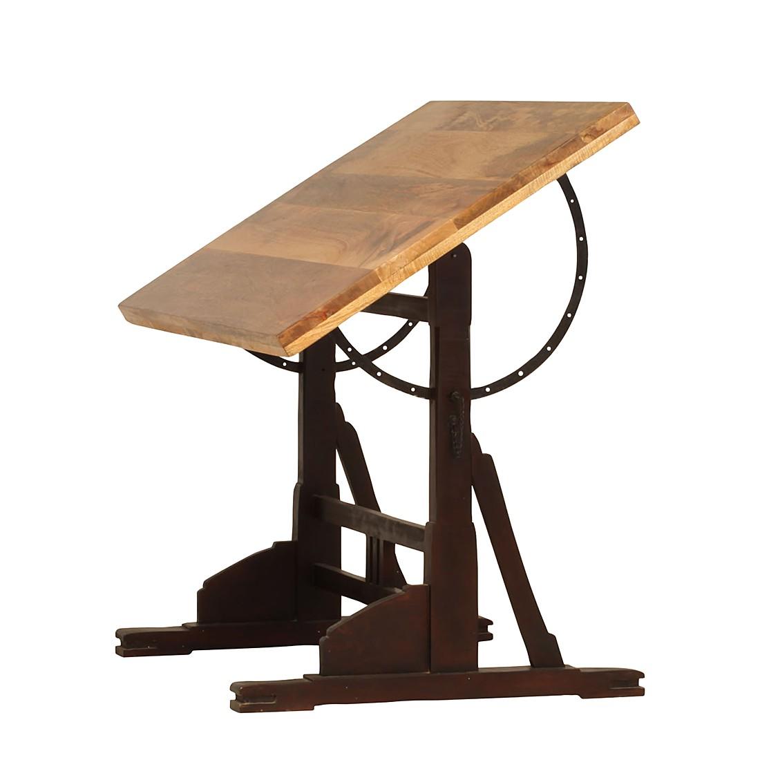 Home 24 - Table à dessin script - manguier massif - teinté et verni, furnlab