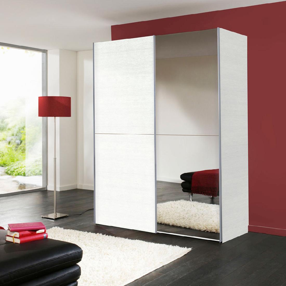 Schwebetürenschrank 2-türig + Spiegel Struktur Weiß Kleiderschrank Schrank NEU  eBay