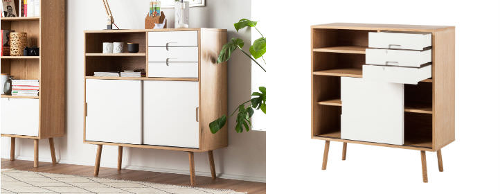Scandi wit en eiken highboard met lades - home24
