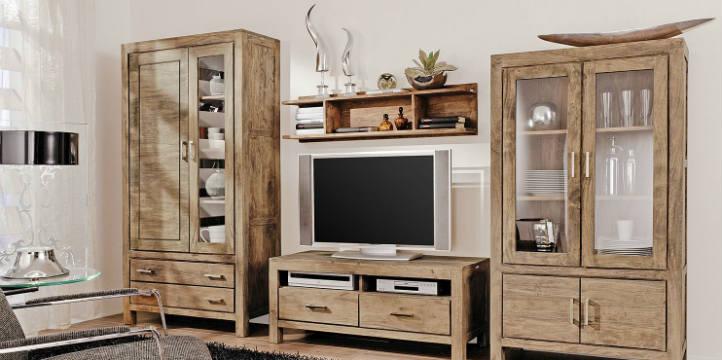 Étagère murale en bois et meuble hi-fi à tiroirs - home24