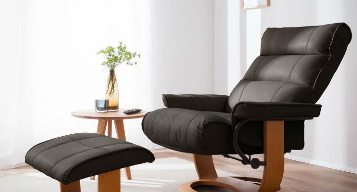 Fauteuil avec repose-pieds noir en cuir véritable et table d'appoint ronde - home24
