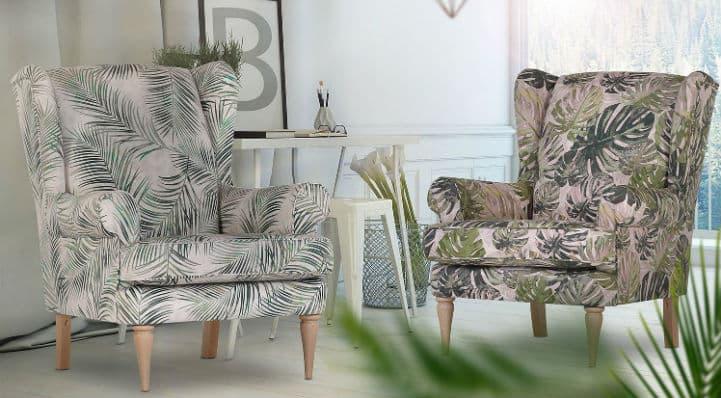 Deux fauteuils bergère avec imprimé feuilles de palmier et pieds en bois - home24