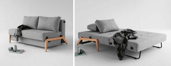 Schlafsofa Cubed - Webstoff und Holz, stabiles Metallgrundgestell - home24