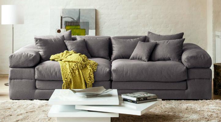 Canapé 4 places gris en tissu avec table basse blanc laqué moderne - home24