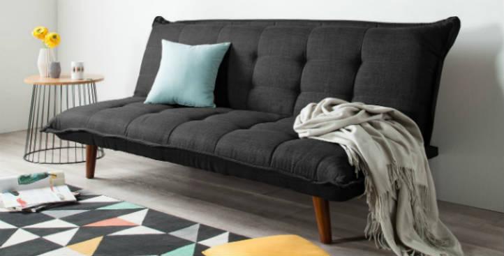 Clic-Clac anthracite avec pieds en bois et tapis géométrique - home24