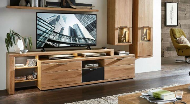 Meuble hi-fi en bois de style nature et vitrines murales en bois - home24