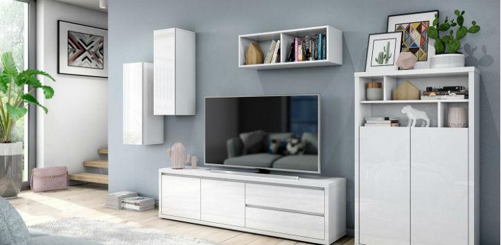Vitrines murales blanc laqué de style scandinave et meuble TV assorti - home24