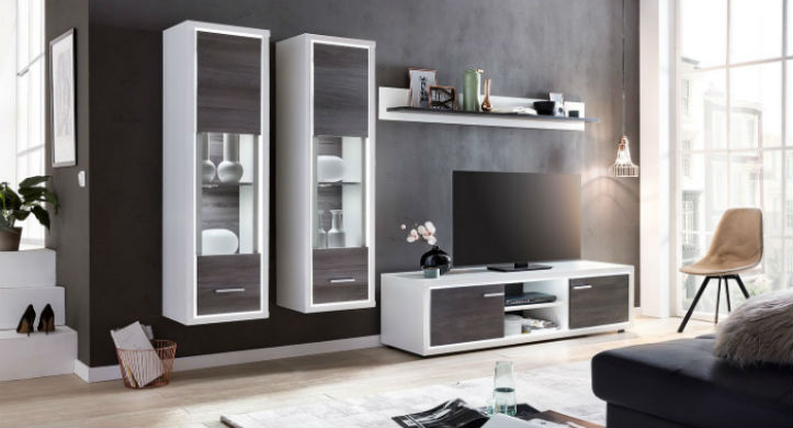 Vitrines murales avec éclairage intégré et meuble TV assorti - home24