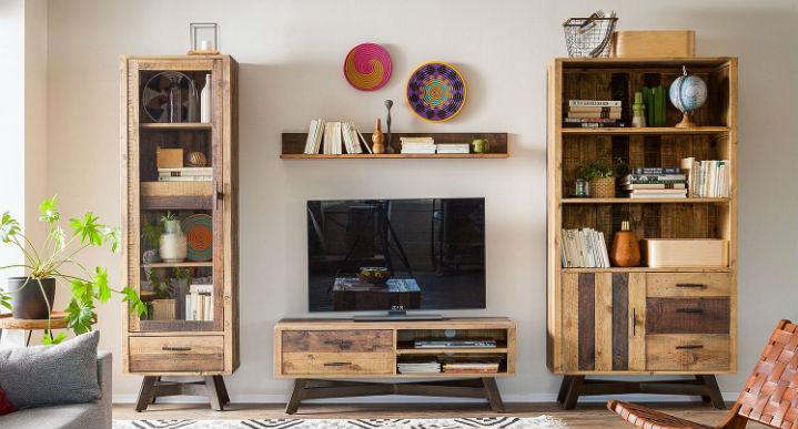 Vitrine en pin massif avec porte en verre et meuble TV assorti  - home24