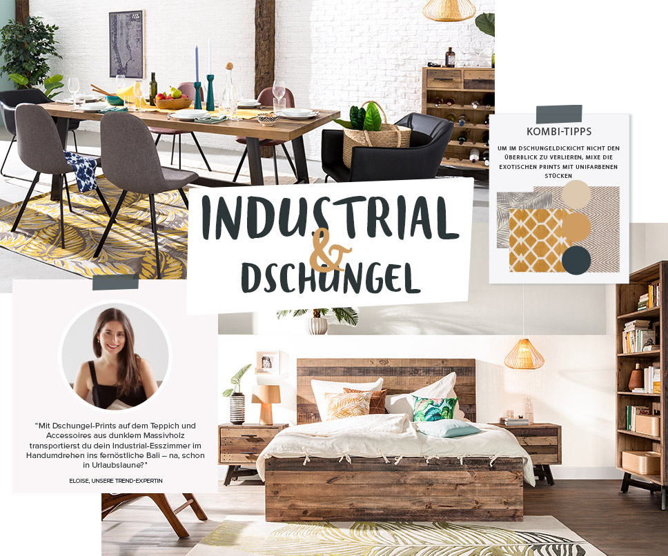 wohntrend industrial urban jungle exotischer trendmix. Black Bedroom Furniture Sets. Home Design Ideas