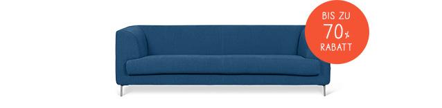 Sofa abgebildet mit Notiz: 'Bis zu 70% Rabatt'